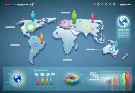 3d world map illustration and info graphics design template.