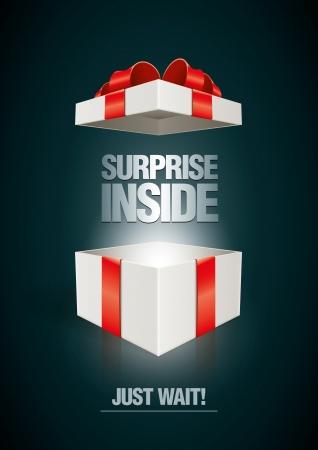 Vector surprise inside open gift box design template