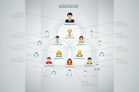 Illustration pour Corporate organization chart with business people icons  Vector illustration   - image libre de droit