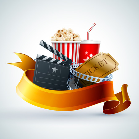 Ilustración de Popcorn box, Disposable cup for beverages with straw, film strip, ticket and clapper board - Imagen libre de derechos