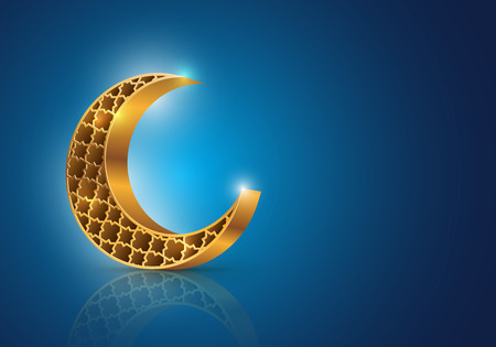 Illustration pour Muslim community festival Eid Mubarak symbol  Vector decorative crescent moon on blue background   - image libre de droit