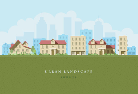 flat illustration of city landscape.