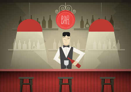 Barman in the bar vector illustration.