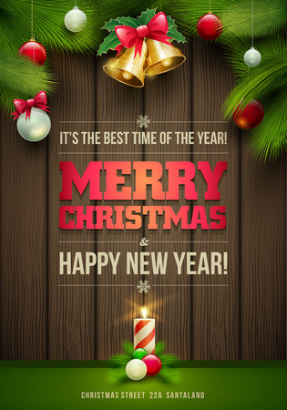 Vector Christmas Messages and objects on dark wooden background. Elements are layered separately in vector file.