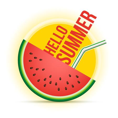 Illustration pour Vector summer concept illustration. Sun and watermelon. - image libre de droit