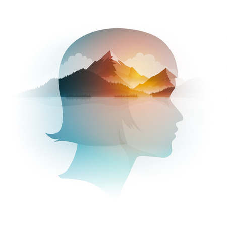 Illustration for Vector double exposure girl portrait and mountain, forest and sea landscape. Concept illustration. - Royalty Free Image