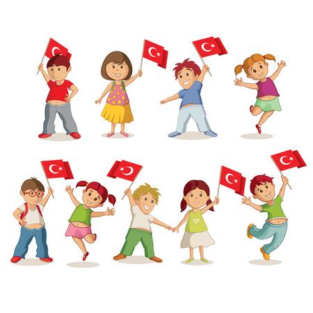 Illustration pour Vector illustration of children with Turkish flag. 23 Nisan Çocuk Bayrami, April 23 Turkish National Sovereignty and Children's Day. - image libre de droit