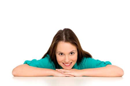 Photo pour Girl leaning on table - image libre de droit