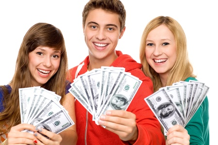 Young people holding money