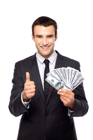 Businessman holding dollar bills