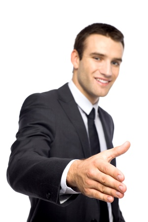 Businessman extending his hand for a handshake