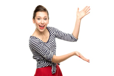 Photo pour Attractive woman presenting something - image libre de droit