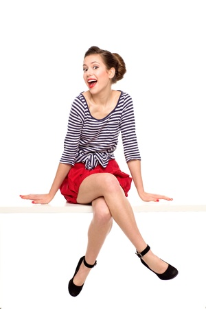 Photo for Pin-up girl sitting - Royalty Free Image