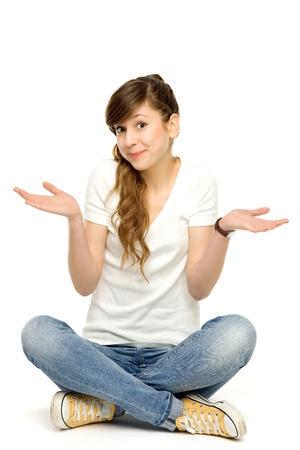 Teenage girl gesturing