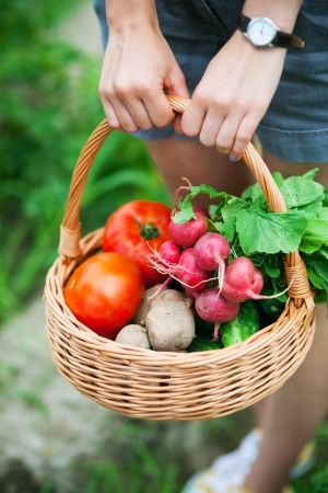 Woman with basket of vegetablesの写真素材