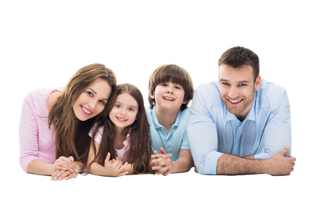 Foto de Happy family with two kids - Imagen libre de derechos