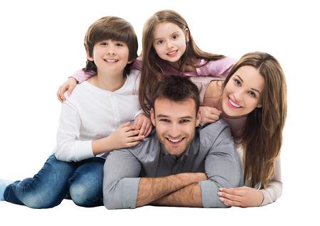 Foto de Happy family with two kids - Imagen libre de derechos