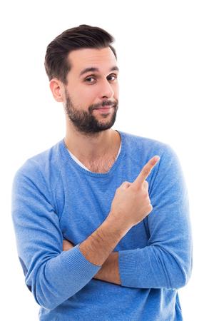 Photo pour man pointing finger - image libre de droit