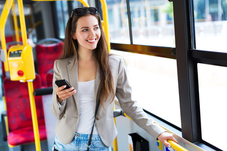 Photo for Woman in bus - Royalty Free Image