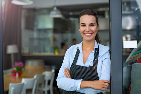Photo for Woman working at cafe - Royalty Free Image