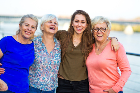 Photo for Group of women smiling outdoors - Royalty Free Image