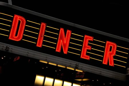 red neon sign at night - diner