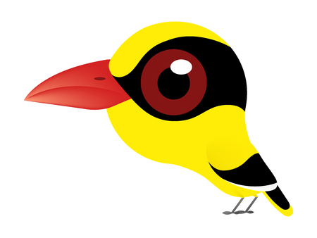 Illustration pour A birds cartoon of Black-naped Oriole or oriole bird type and cute bird because it's have a big eyes. - image libre de droit