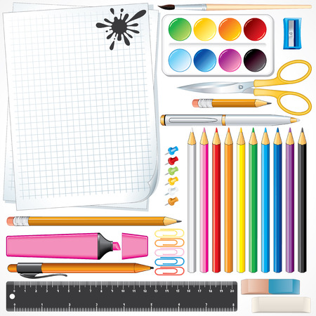 Set of school tools and supplies -all object separated and grouped