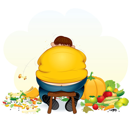 Fatty vegan man eating fruits and vegetable - illustration