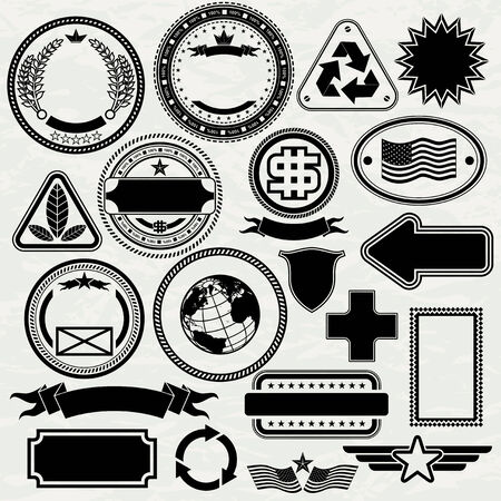Blank Stamps templates for your design, vector elements separated