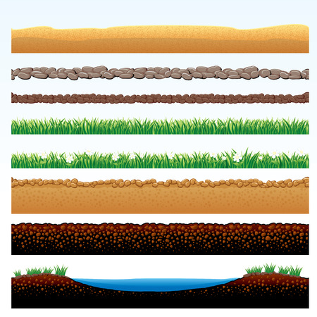 Natural Grass and Ground borders set - cartoon illustration of grass field, stone roadway, desert sands, cobblestone way - objects grouped