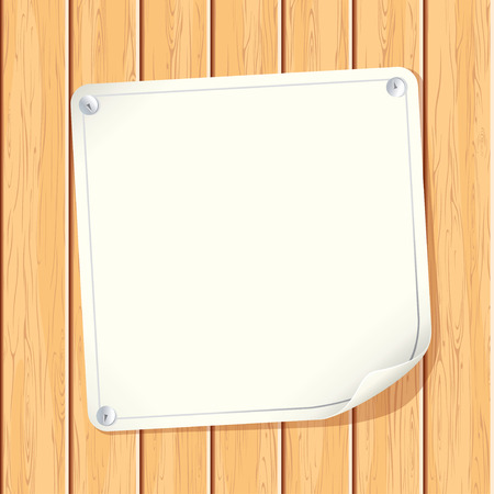 Blank Paper Poster attached on Wooden Wall - image with copyspace ready for your text message or design