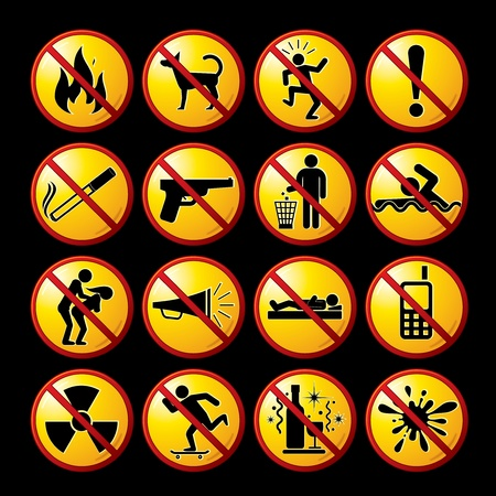 Set of modern restrictive and warning signs, icons, pictograms - vector clip-art ready for your design.