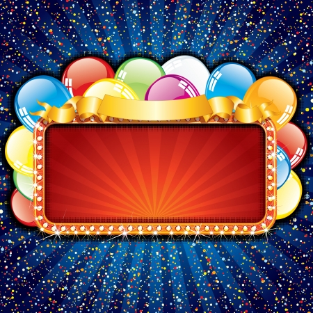 Bright Happy Birthday Sign with Colorful Balloons, vector illustration