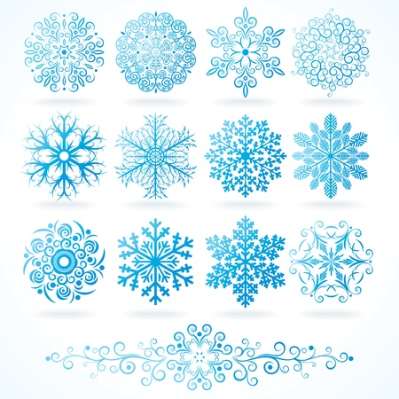 Detailed Isolated Snowflakes, collection for your design