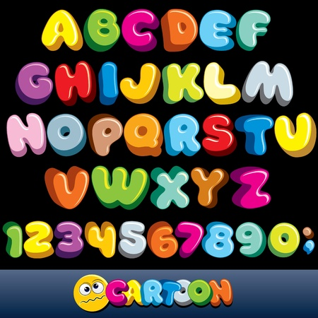 Funny Comics Font. Vector Cartoon Alphabet with All Letters and Numbersのイラスト素材