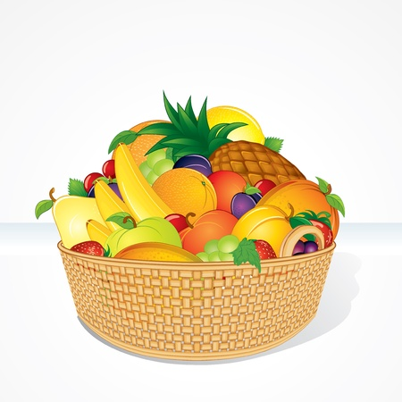 Delicious Fruit Basket  Isolated Cartoon Vector Illustration