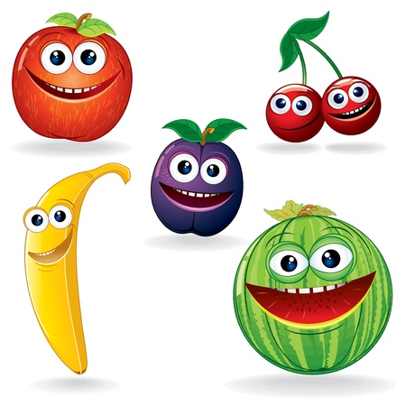 Set of Funny Vector Fruits  Cartoon Clip Artのイラスト素材