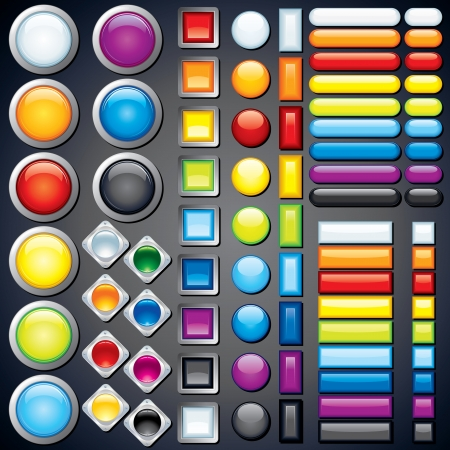 Collection of Web Buttons, Icons, Bars  Vector Image