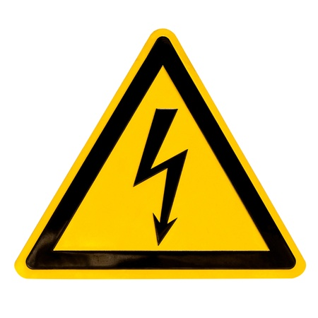 Real metal high voltage danger sign isolated on white