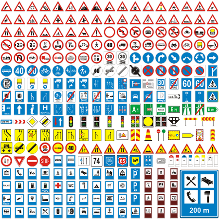 three hundred fully editable vector european traffic signs