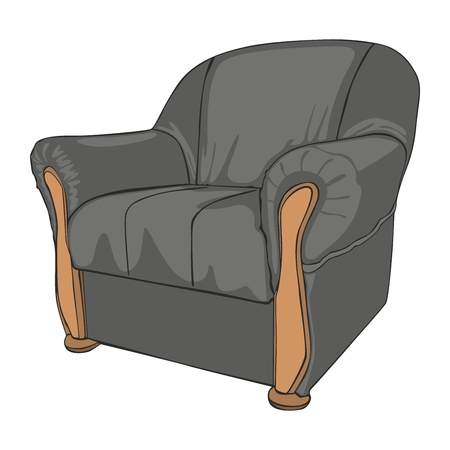 fully editable vector illustration of isolated colored armchair