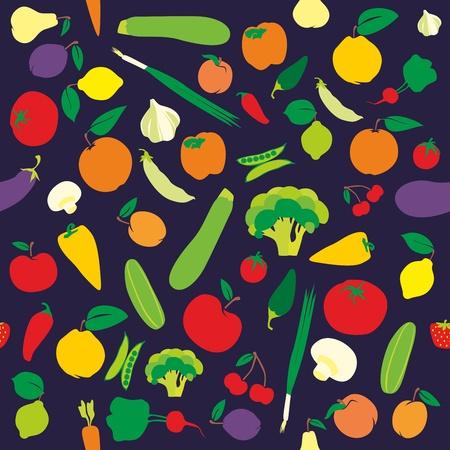 Foto für fully editable seamless pattern fruits and vegetables - Lizenzfreies Bild