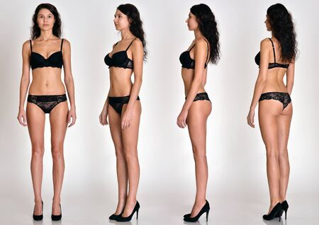 Photo pour Many women figures  full lengh from all angles in black underwear in studio with grey background. Not object. - image libre de droit