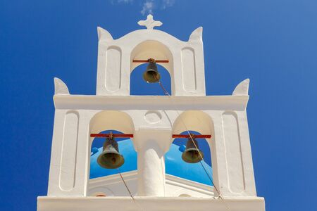 The bell tower on the orthodox church of Panagia in Oia.