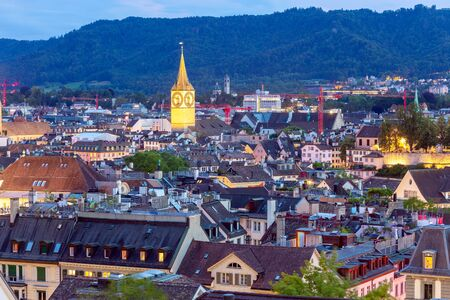 Photo for Zurich. Aerial view of the city in night lighting. - Royalty Free Image