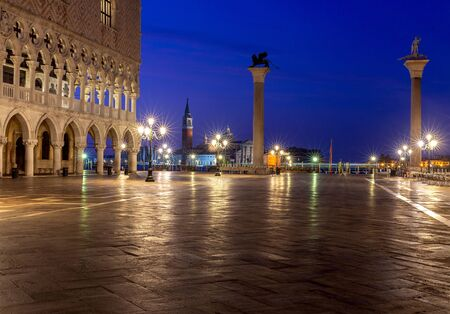 Photo for View of St. Mark's Square in night illumination at dawn. Venice. Italy. - Royalty Free Image