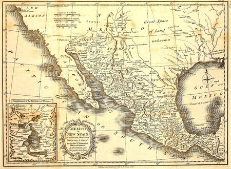 Antique map of Mexico printed in London 1821
