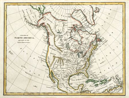 Early colored map of North America, printed in England and dated 1791.