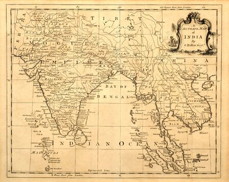 Photo pour Antique map of India and Southeast Asia printed in 1750 - image libre de droit